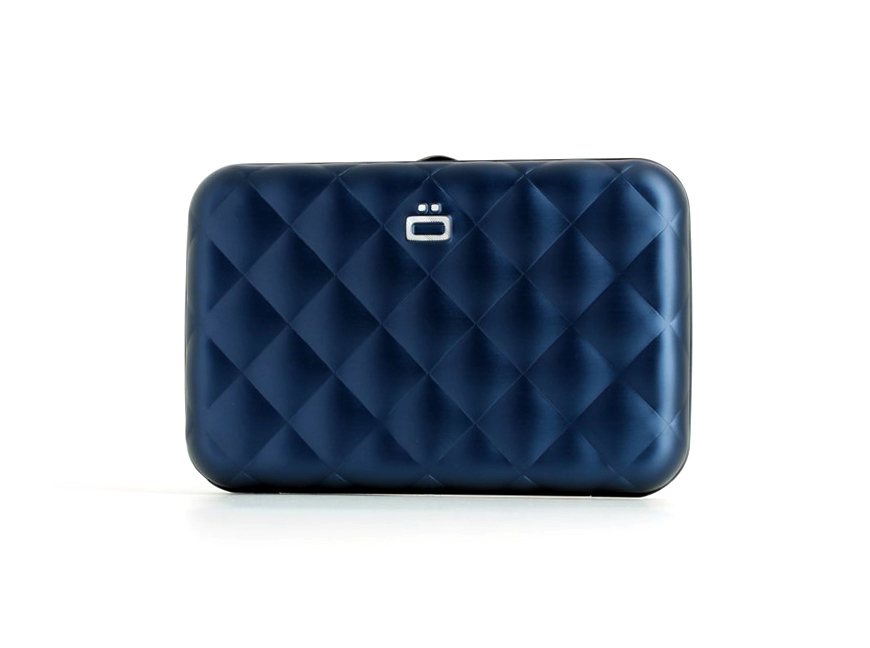 Quilted Button Card Case / Navy Blue