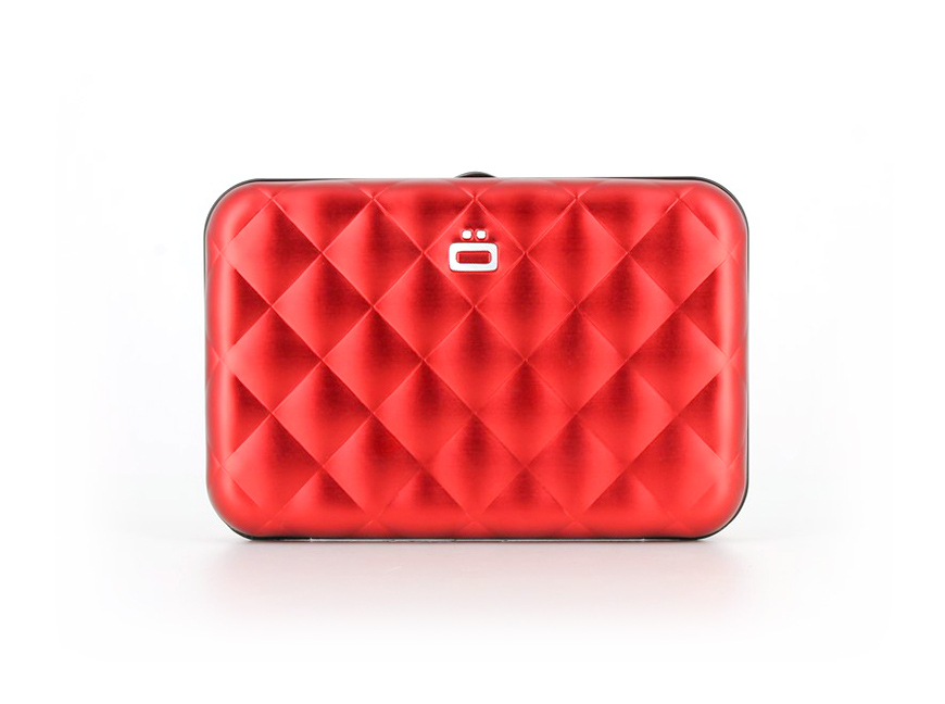 Quilted Button Card Case / Red