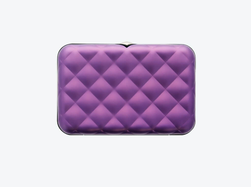 Quilted Button Card Case / Purple