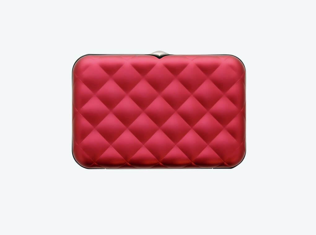 Quilted Button Card Case / Raspberry