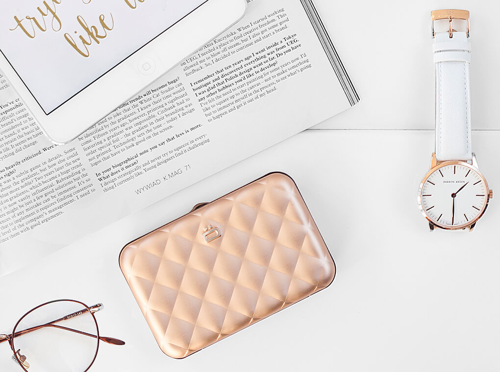 Quilted Button Card Case / Rose Gold